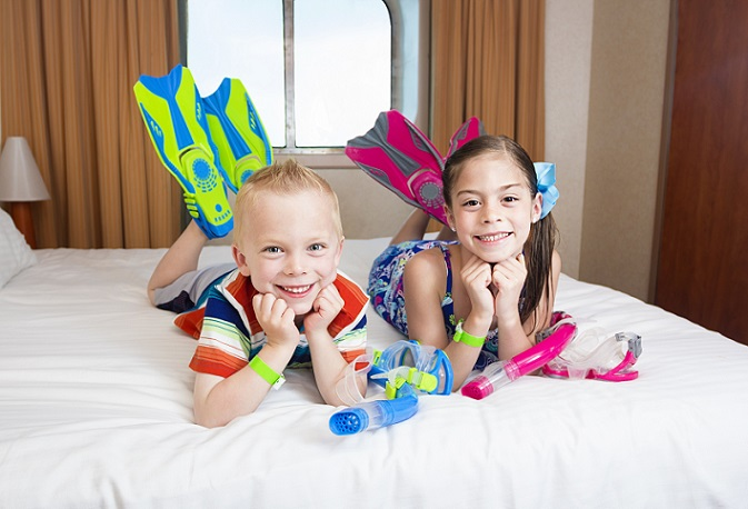 Eigene Kajüte für dei Kids, da haben die Eltern dann auch einen Erholfaktor auf einem Kreuzfahrtschiff